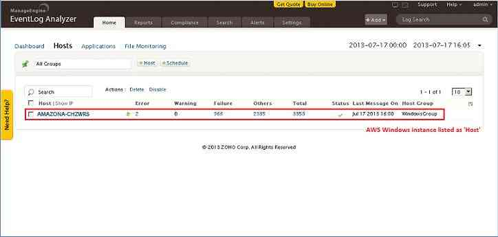 ELA AWS Agent muestra registros