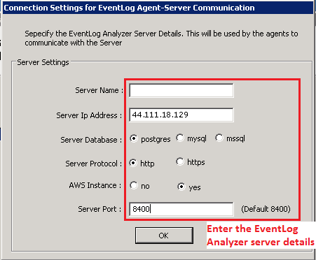 Ingrese los detalles del servidor ELA