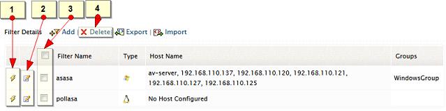 Edit, Delete log database filter