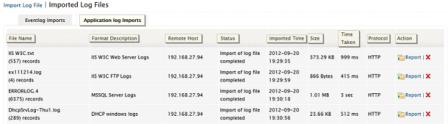 Imported log files - applications
