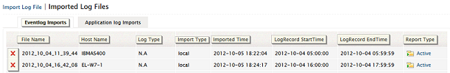 Imported log files - eventlogs