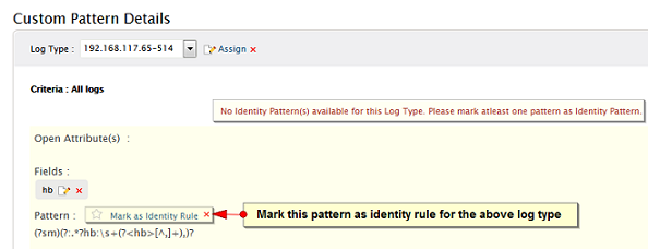 Mark custom pattern as identity rule for the respective user defined log type
