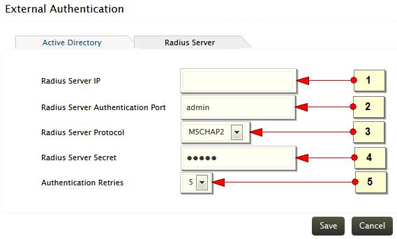 RADIUS server configuration