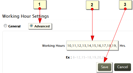 Working Hours Advanced Settings