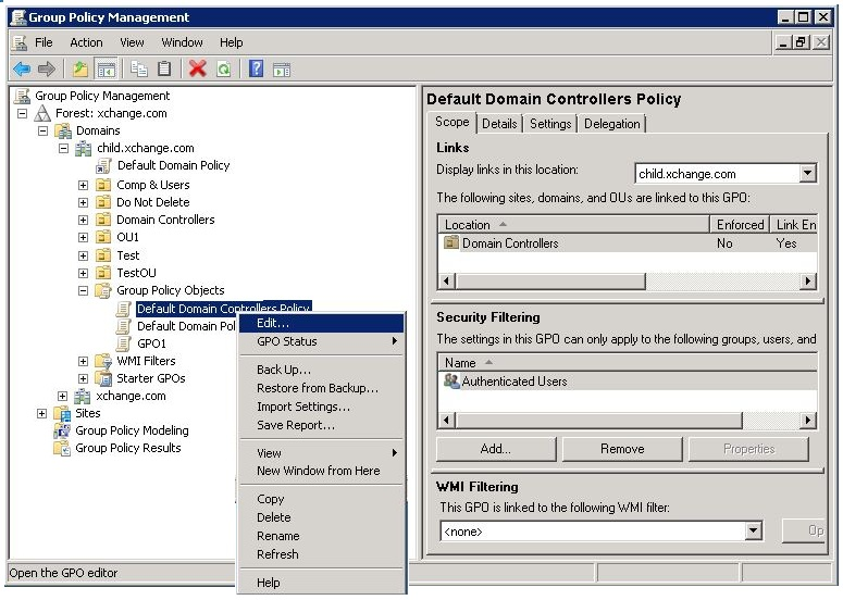Configuring Domain Controller Policy