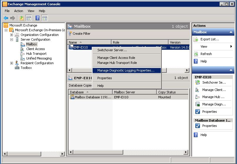 Configuring Diagnostic logging On Exchange Server 2007 and 2010 using Exchange Management Console