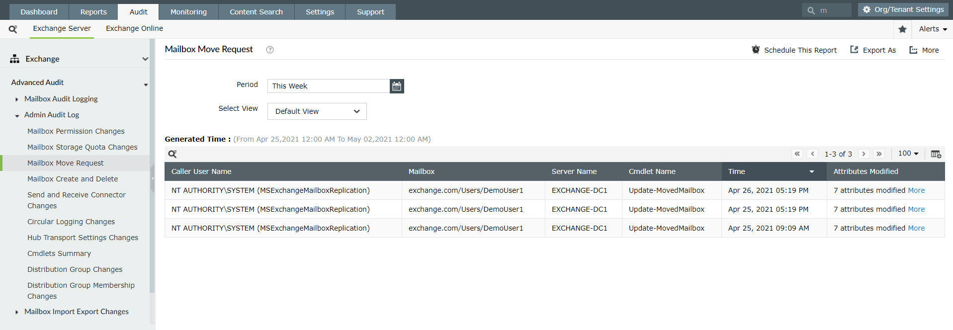 Audit mailbox move requests with Exchange Reporter Plus