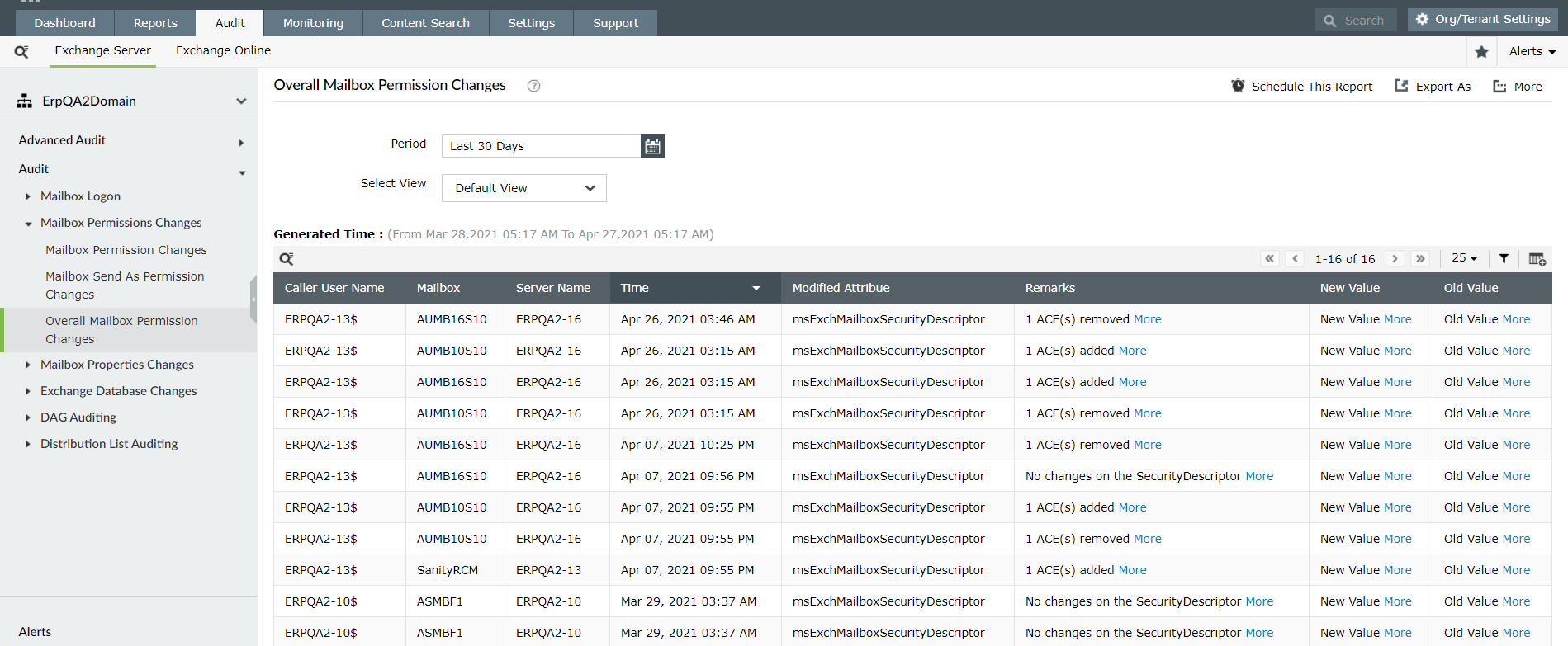 Exchange Online mailbox permission changes