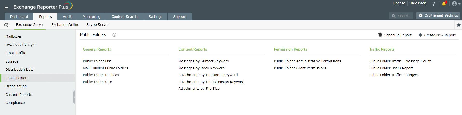 Export public folder lists using Exchange Reporter Plus