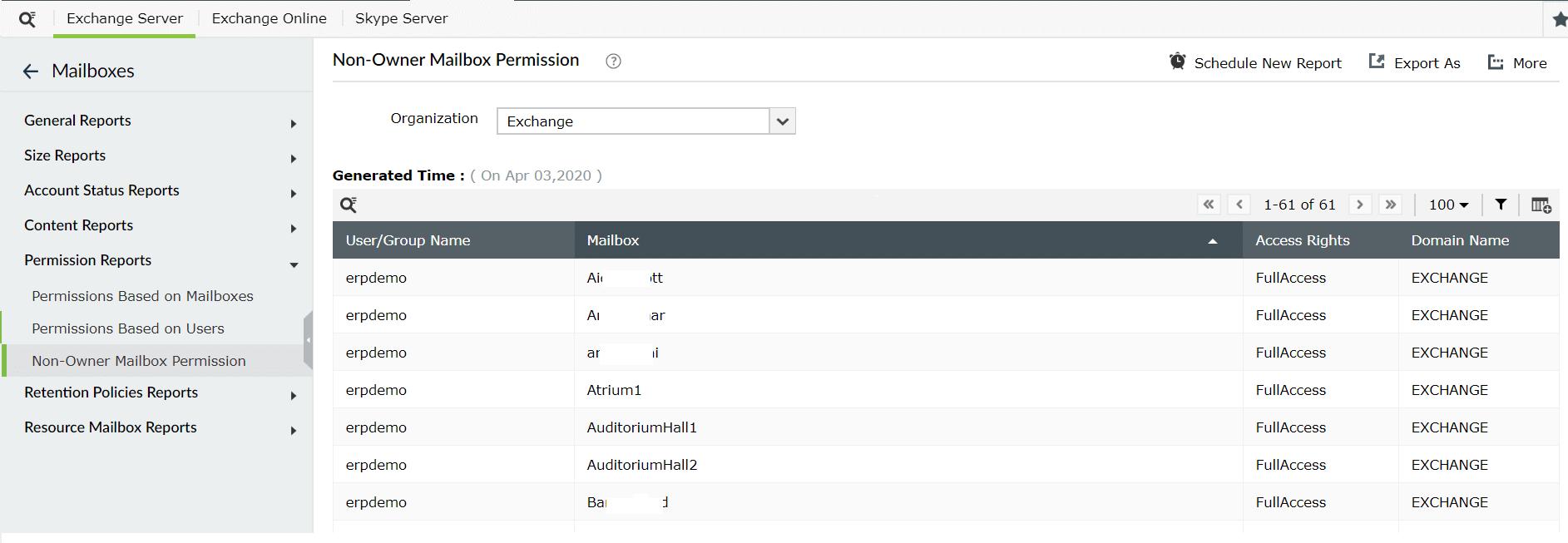 Exchange Mailbox Permission reports - ManageEngine Exchange