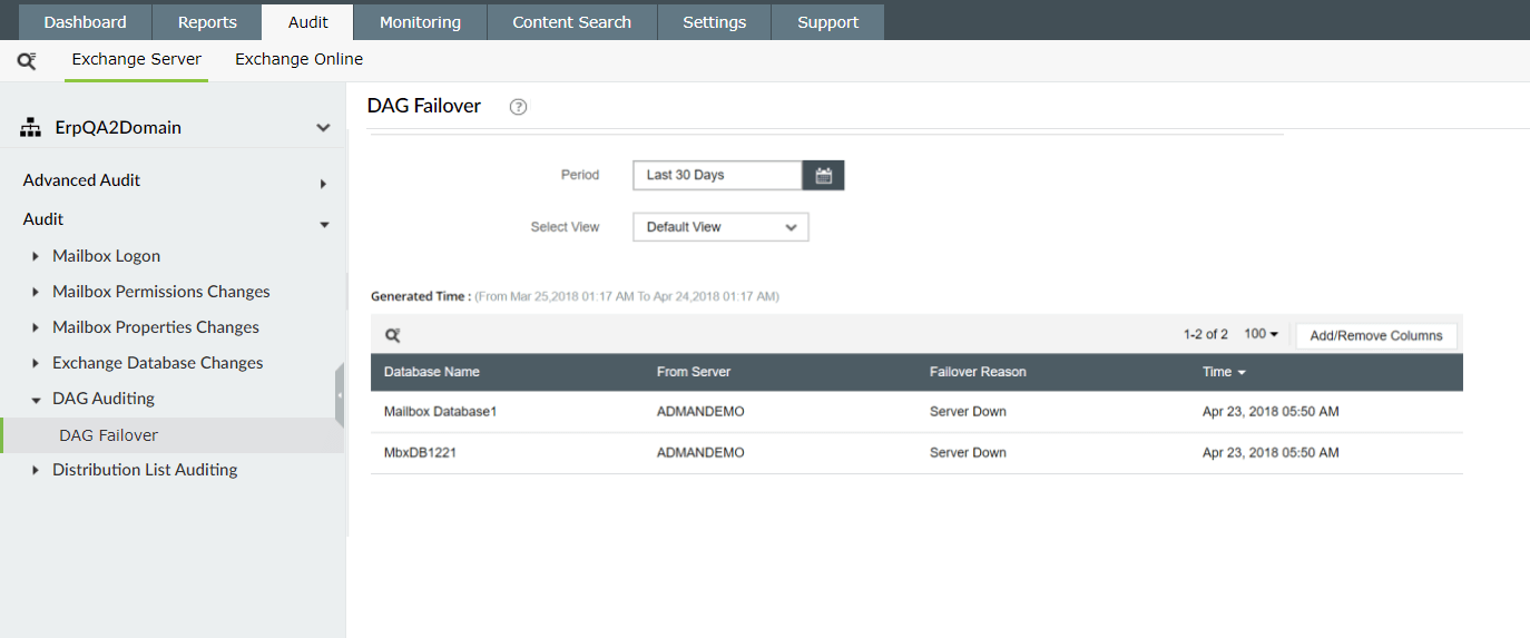 Identify reasons for DAG failover with Exchange Reporter Plus