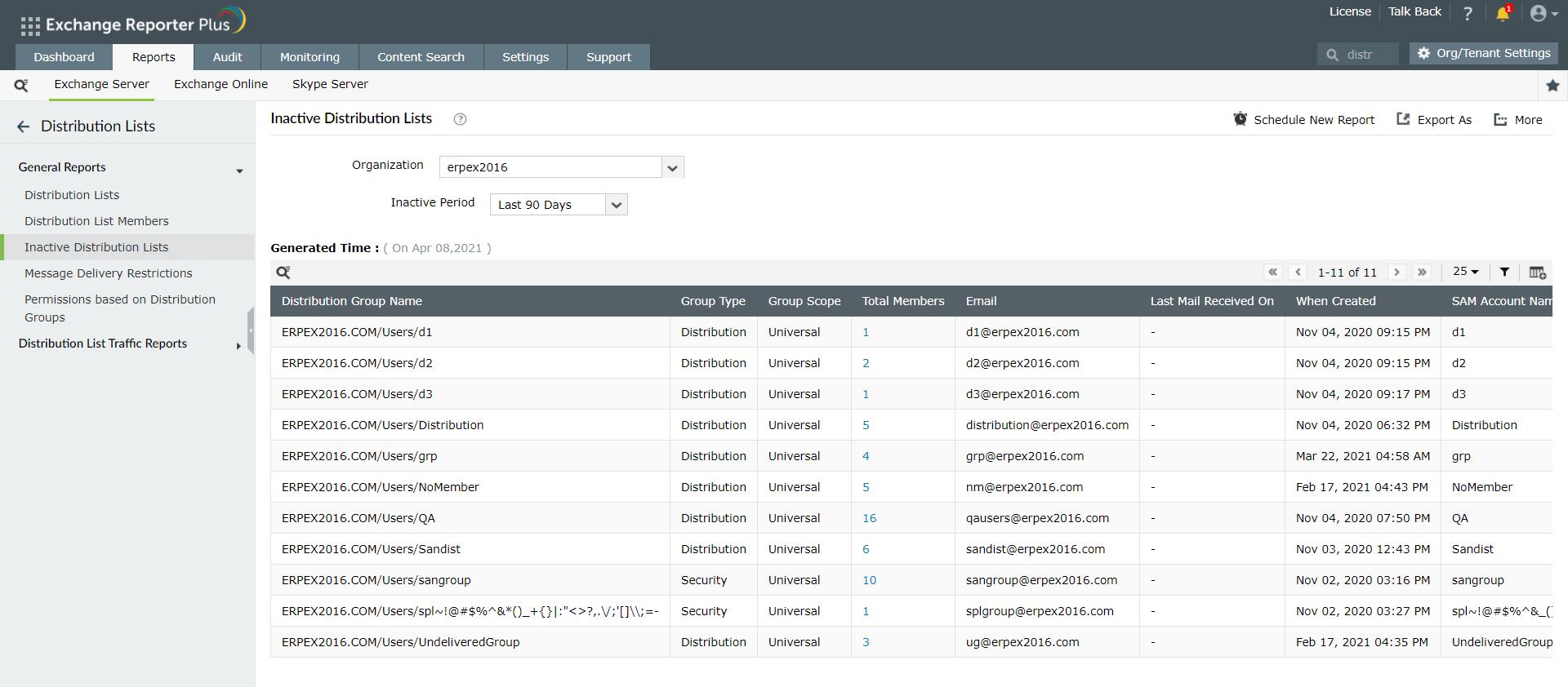 Inactive Distribution Lists report in Exchange Reporter Plus