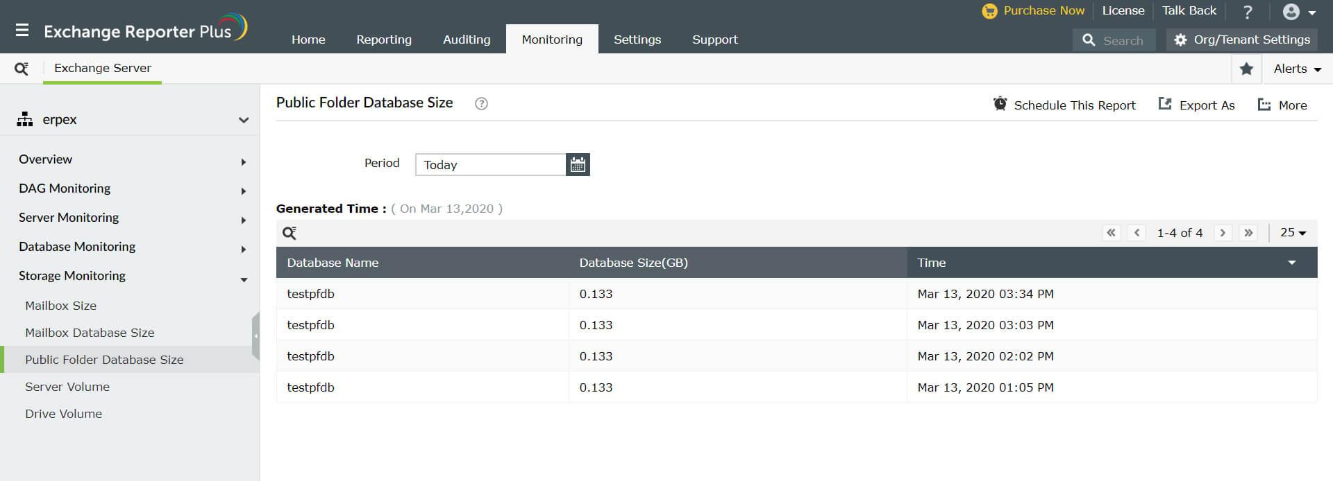 Exchange Storage Monitoring Exchangereporter Plus