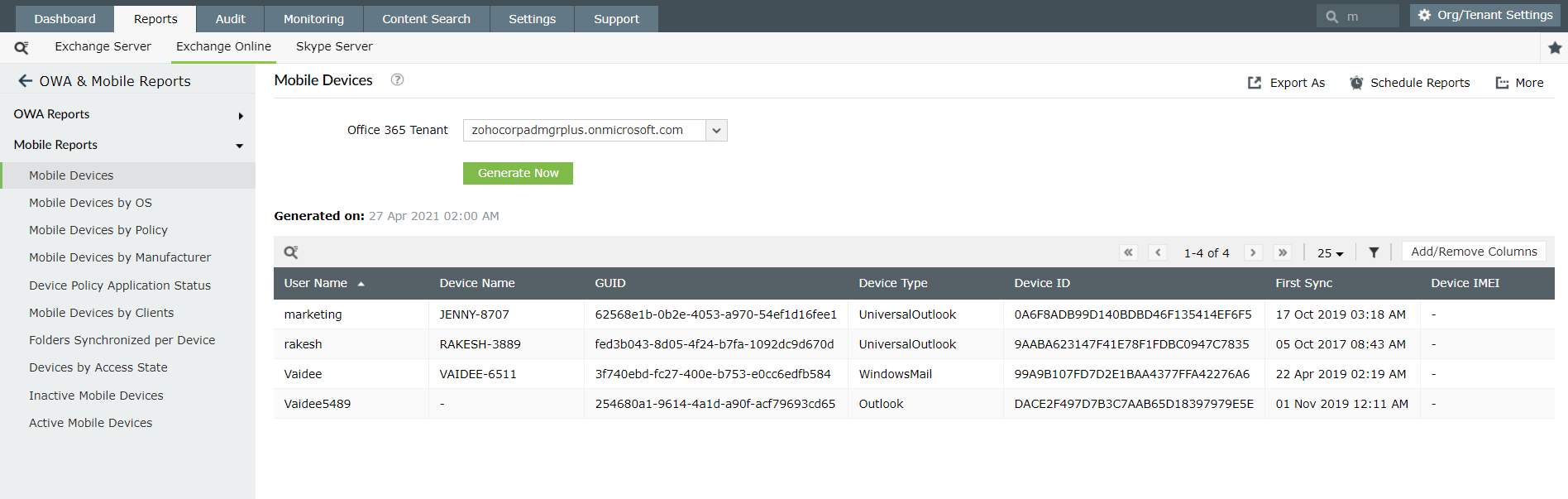 Mobile devices using Exchange Reporter Plus