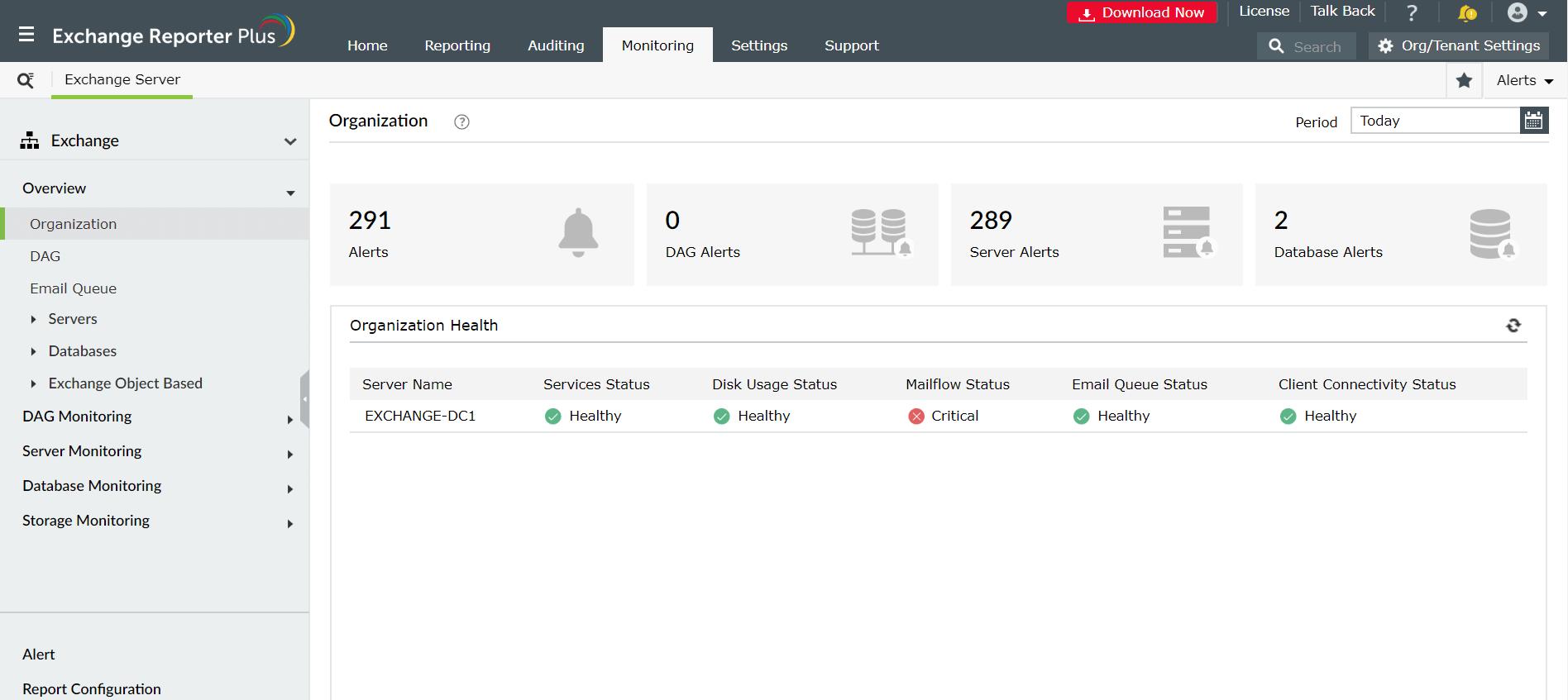 Exchange Organization Monitoring