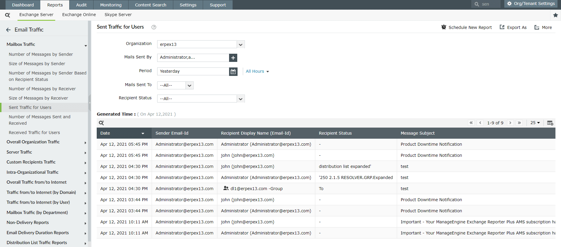 Get users sent and receive traffic reports with Exchange Reporter Plus