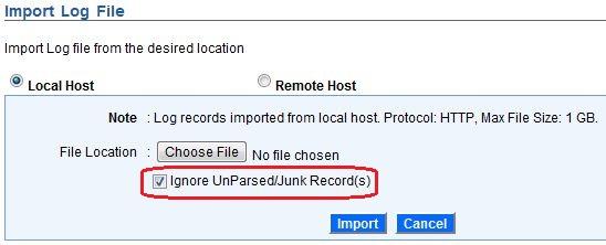 Ignore UnParsed/Junk Record(s) - Local Host
