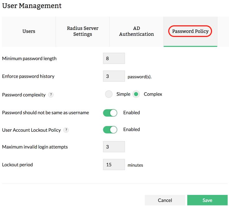 User Management | Add User | RADIUS Server Setting