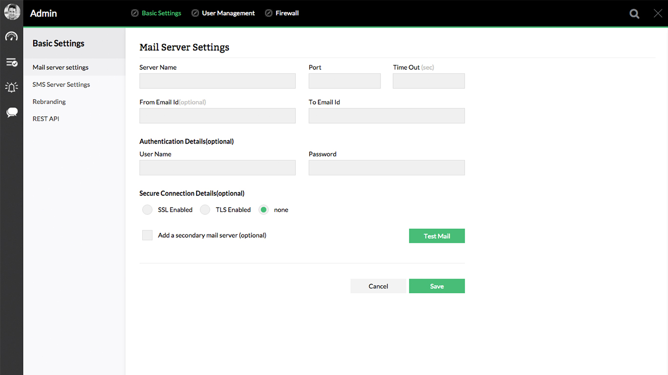 Firewall Analyzer Mail Server Settings