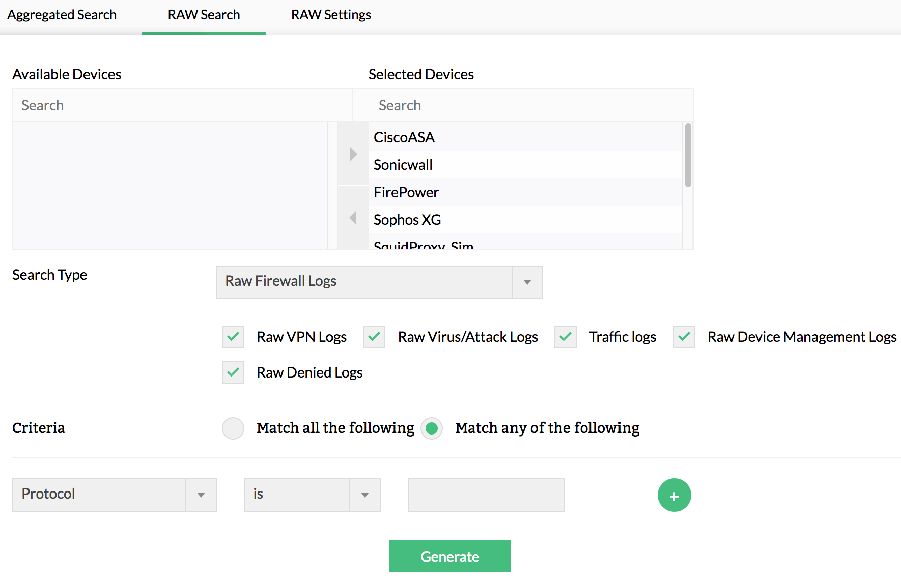 Forensic log analysis tool - raw log search - ManageEngine Firewall Analyzer