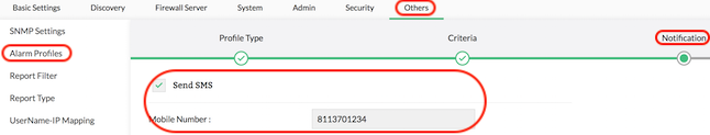Firewall Analyzer SMS Setting