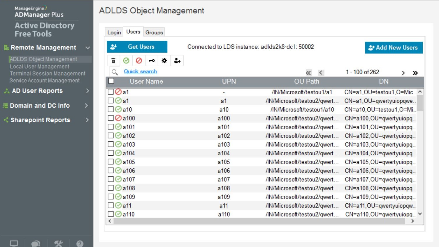 Manage AD LDS users