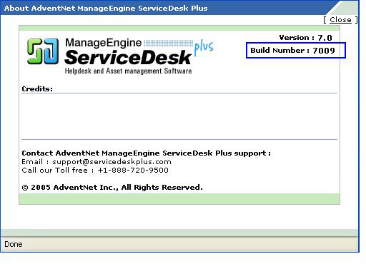 Locate ServiceDesk Plus Build Number