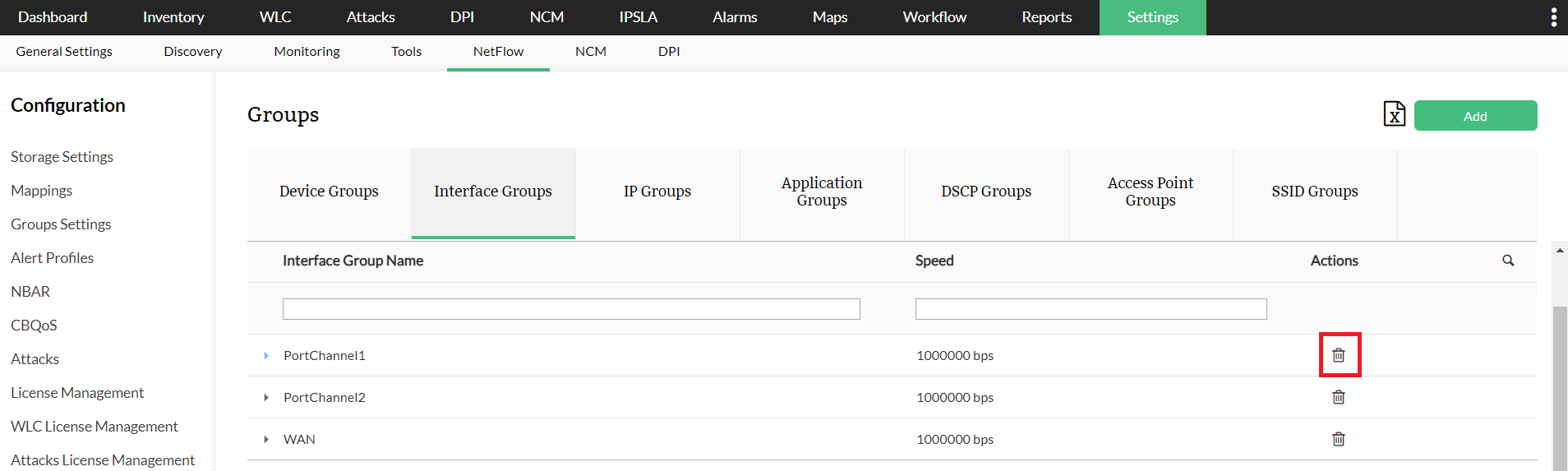 Delete Interface Group