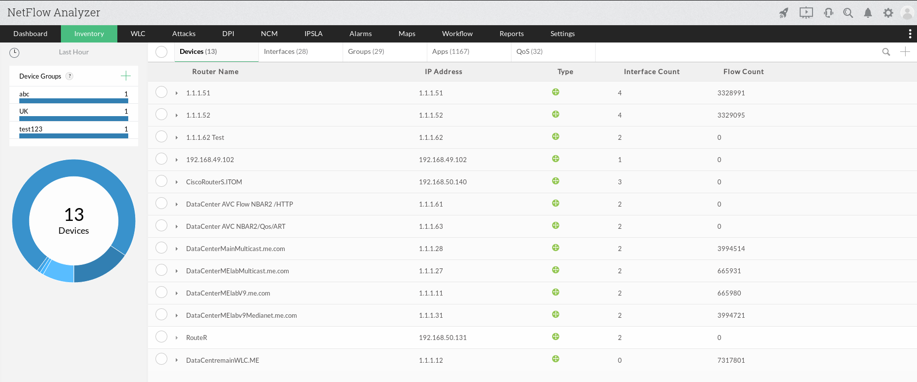 Inventory in NetFlow Analyzer