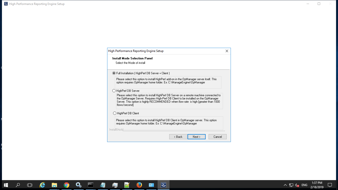 Installing the HighPerf Reporting Engine(Client)