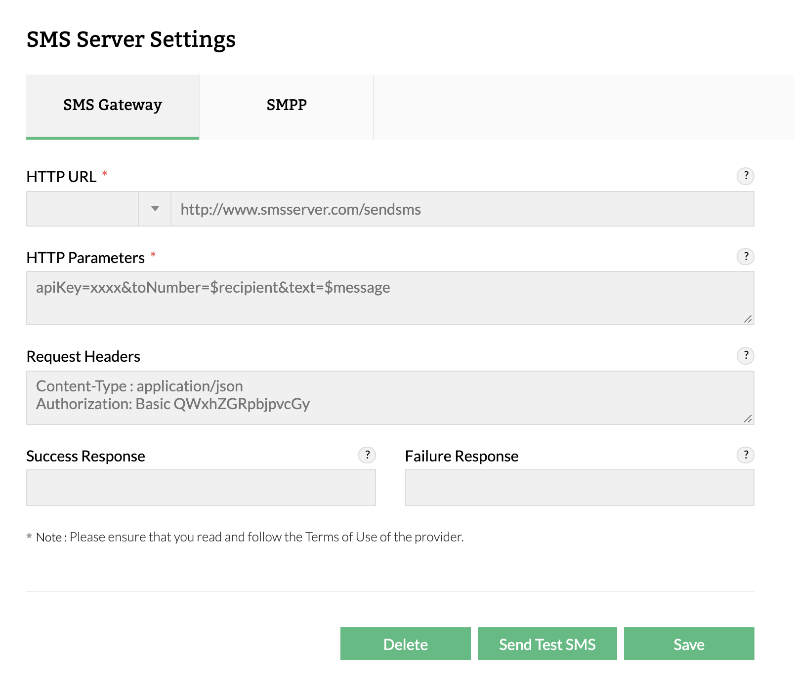 SMS-server-settings