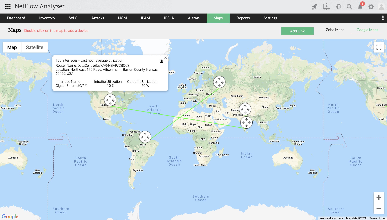 Google maps report - ManageEngine NetFlow Analyzer