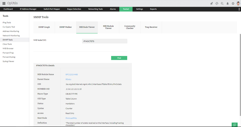 MIB Viewer Tool - ManageEngine OpUtils