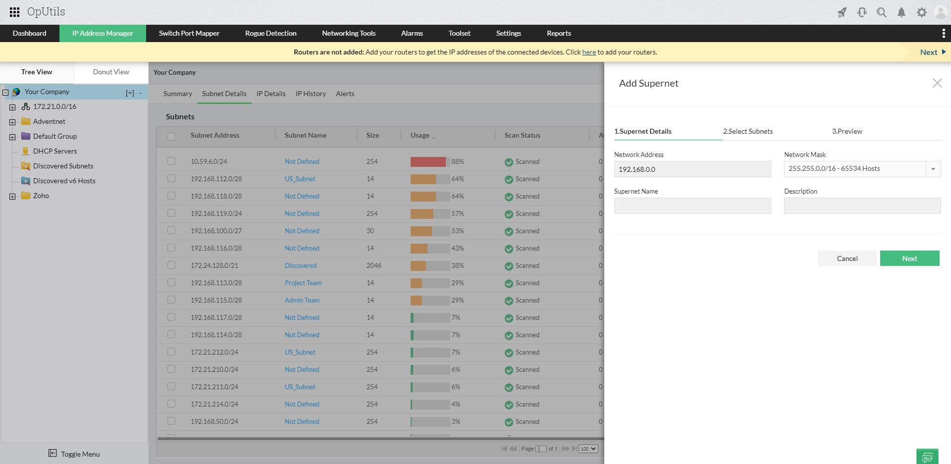 Supernet monitoring – ManageEngine OpUtils