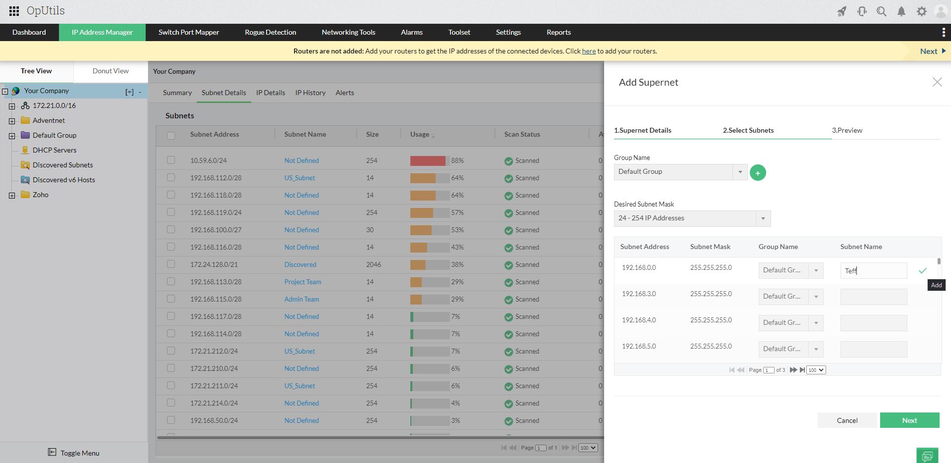 Supernet tools – ManageEngine OpUtils
