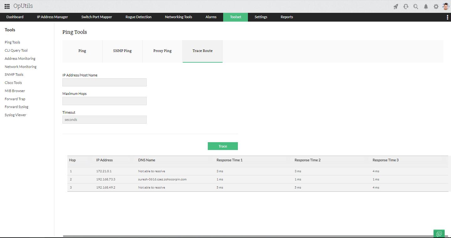 IP Tools Network Utilities - ManageEngine OpUtils