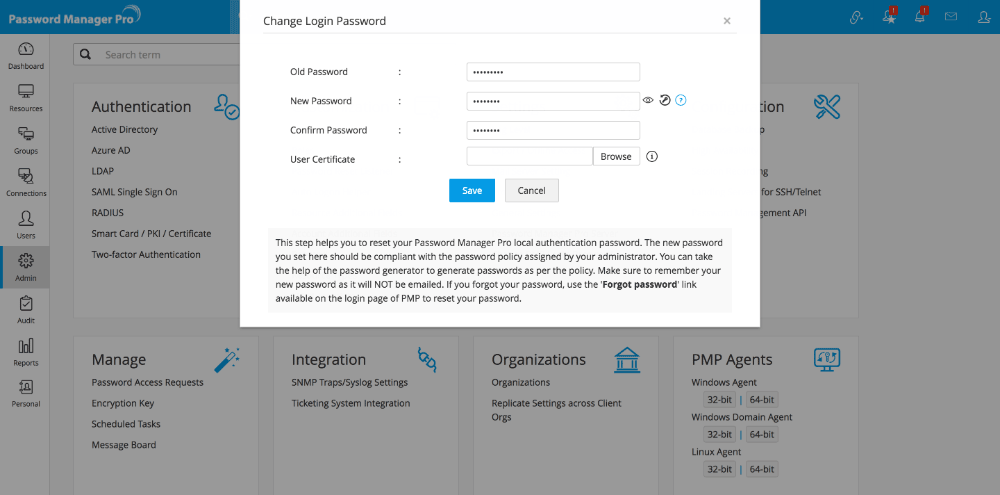 Change Password Manager Pro Login Password