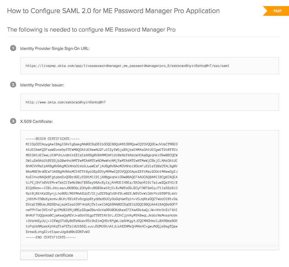 Single Sign On Configuration Using Saml