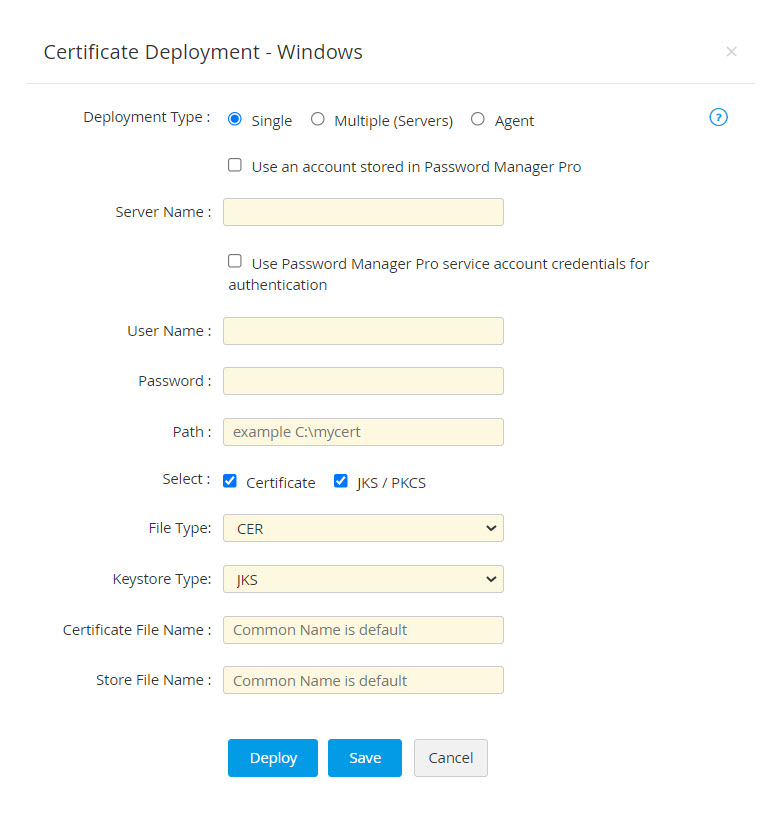 Deploy Certificates to target web servers