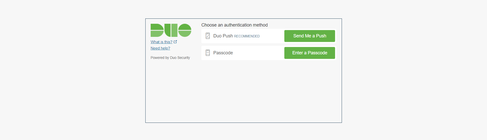 Settings up two-factor authentication - Duo security