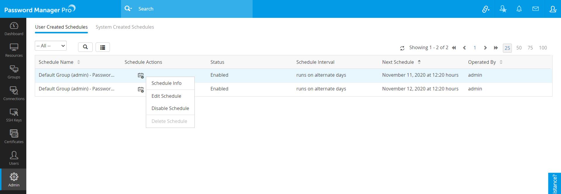 Managing Schedules
