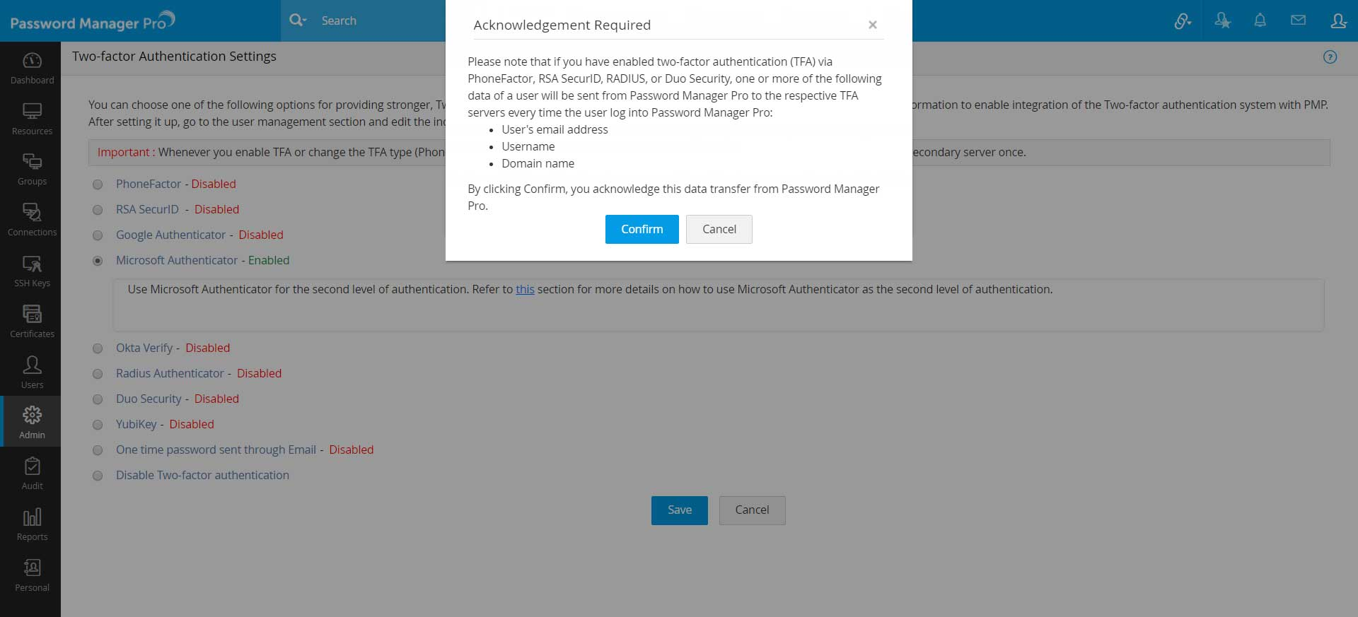 Setting up two-factor authentication - Microsoft Authenticator