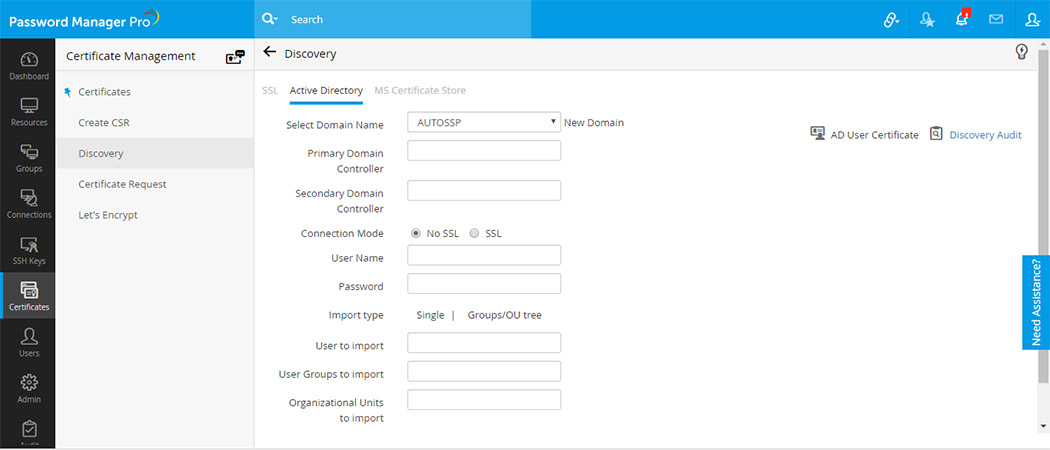 SSH key y integración de gestión de certificados SSL