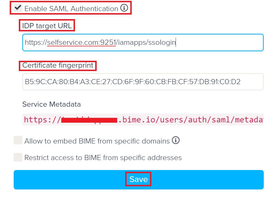 Configuring SAML SSO for Bime io