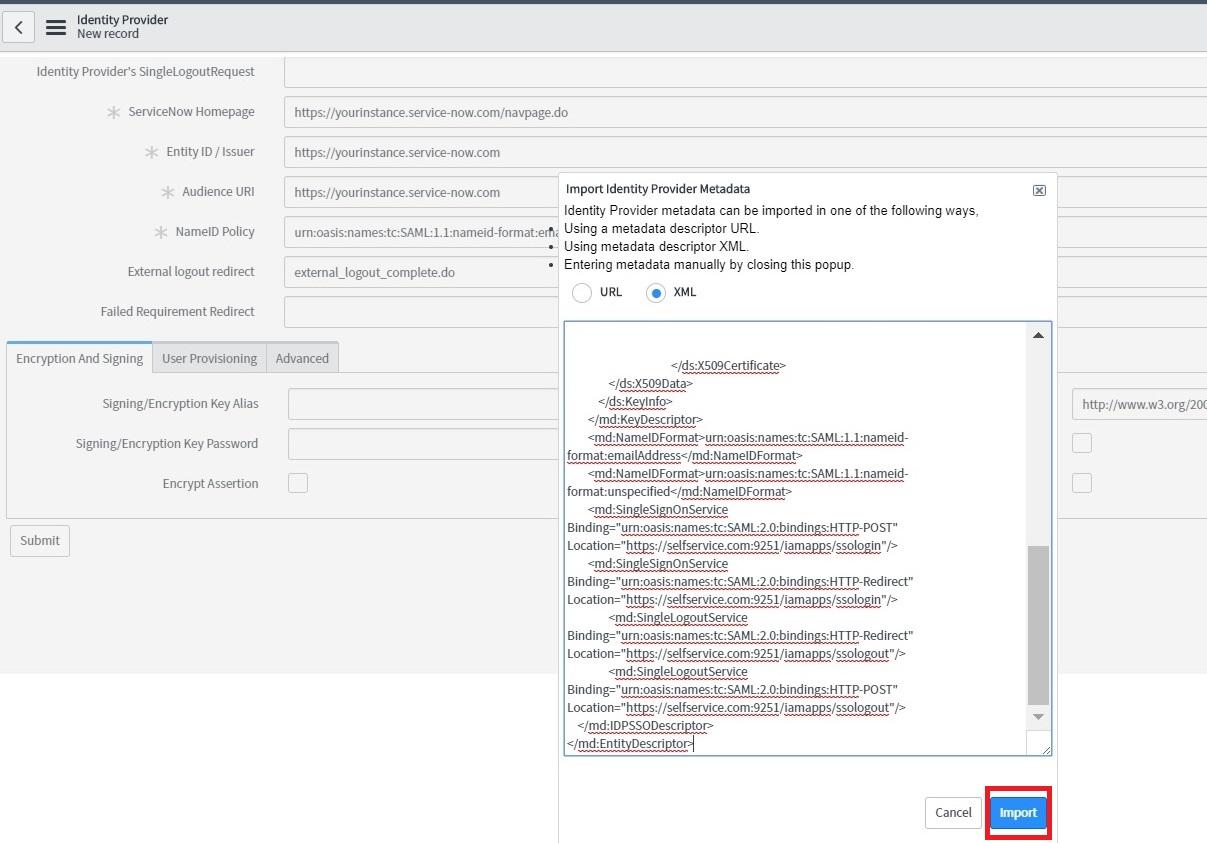 Configuring SAML SSO for ServiceNow