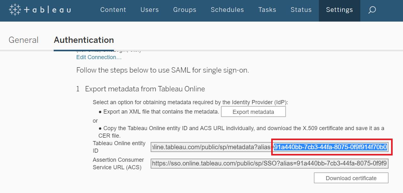 Configuring SAML SSO for Tableau