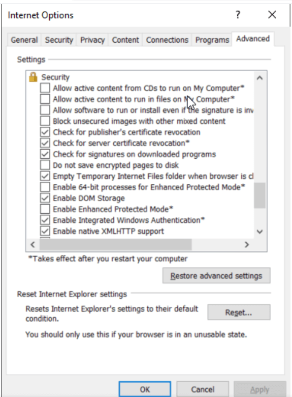 Changing settings in Internet Explorer