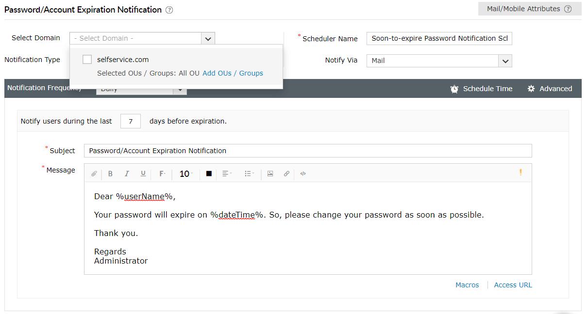 Configuración de contraseña-exp