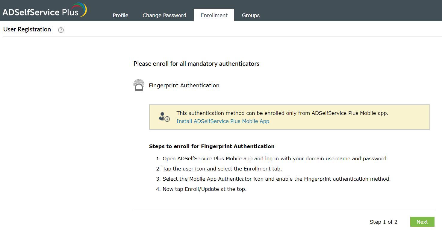 Enrollment using Fingerprint authenticator