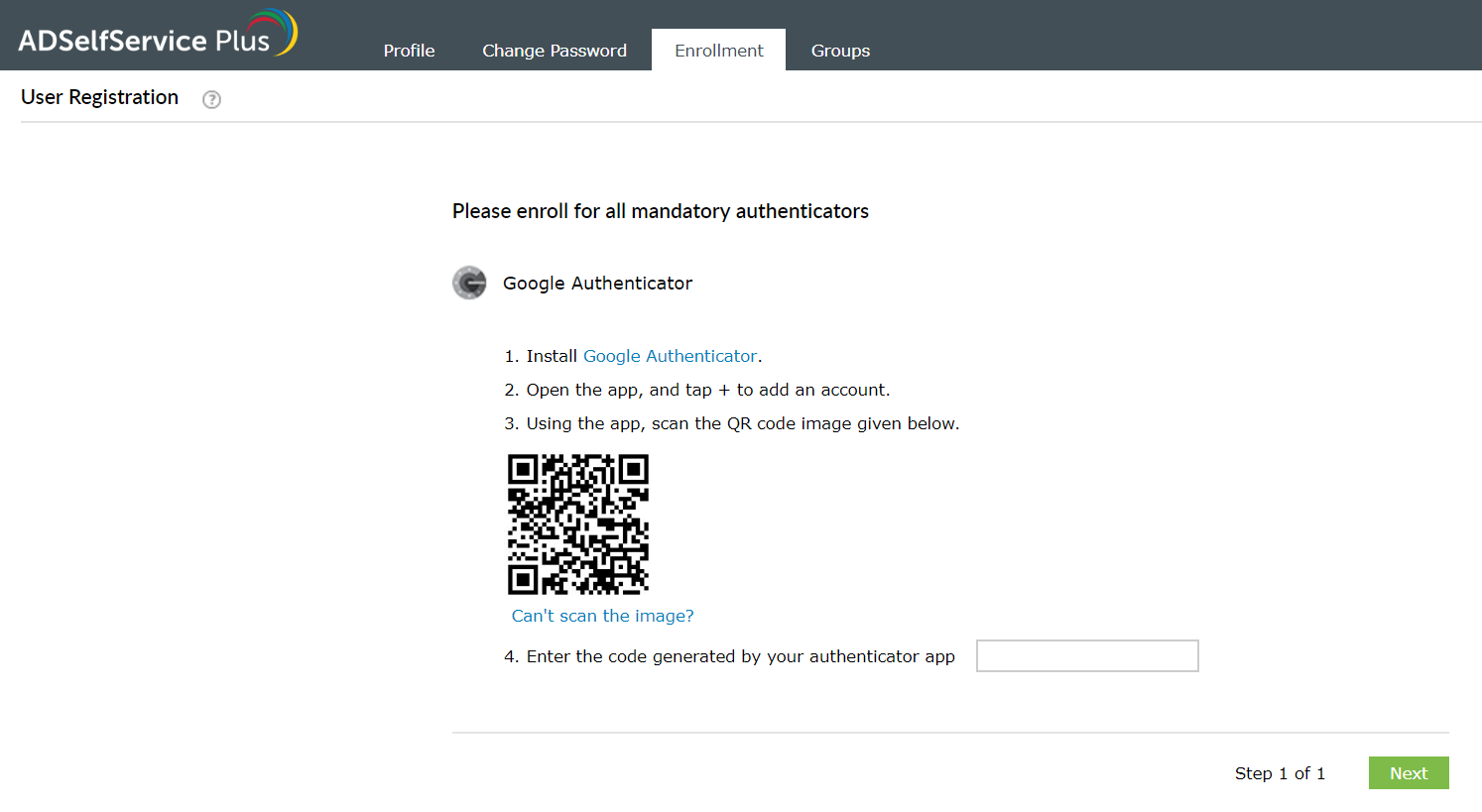Enrollment using Google Authenticator